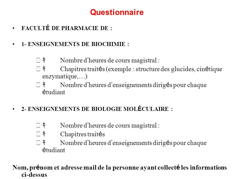 Questionnaire キ Nombre d'heures de cours magistral :