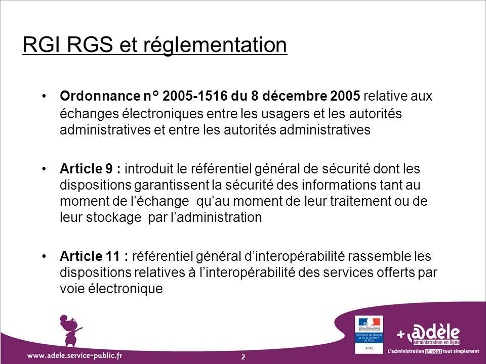 RGI RGS et réglementation