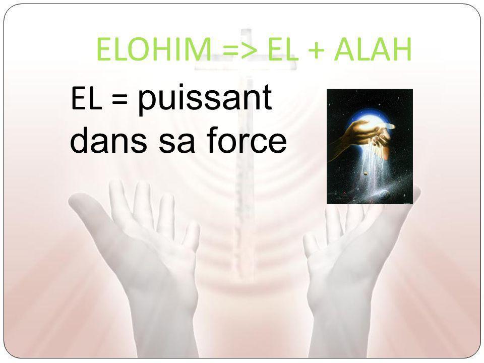 ELOHIM => EL + ALAH EL = puissant dans sa force