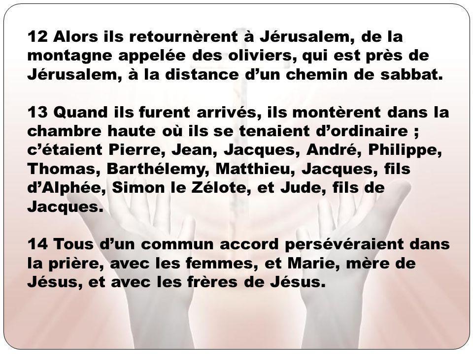 12 Alors ils retournèrent à Jérusalem, de la montagne appelée des oliviers, qui est près de Jérusalem, à la distance d'un chemin de sabbat.
