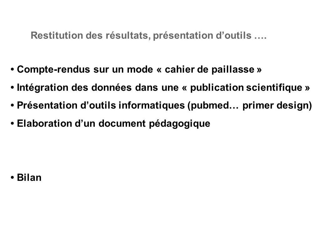 Restitution des résultats, présentation d'outils ….