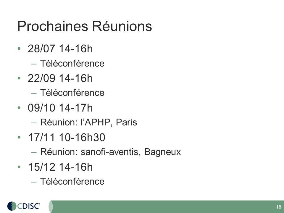 Prochaines Réunions 28/07 14-16h 22/09 14-16h 09/10 14-17h
