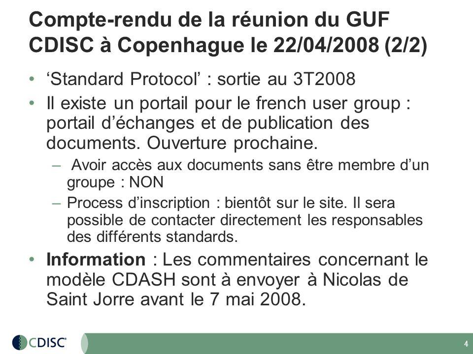 Compte-rendu de la réunion du GUF CDISC à Copenhague le 22/04/2008 (2/2)