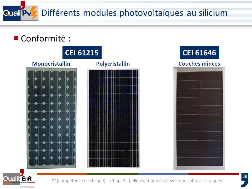 Différents modules photovoltaïques au silicium