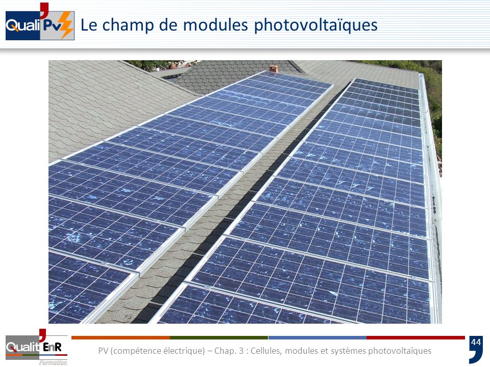 Le champ de modules photovoltaïques