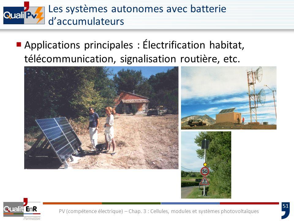 Les systèmes autonomes avec batterie d'accumulateurs