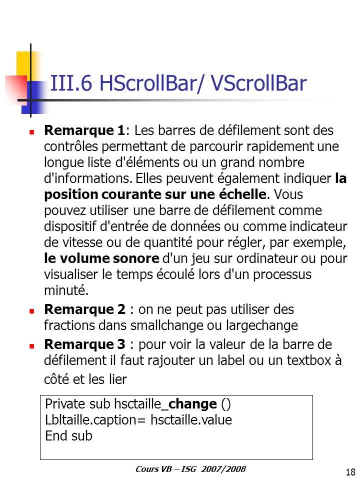 III.6 HScrollBar/ VScrollBar