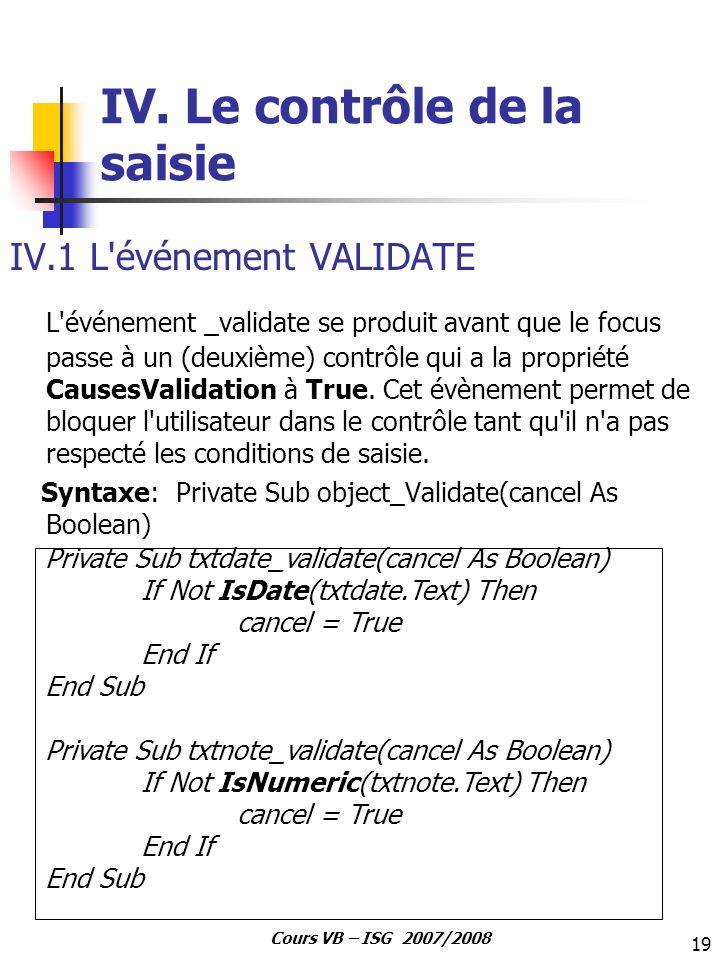 IV. Le contrôle de la saisie