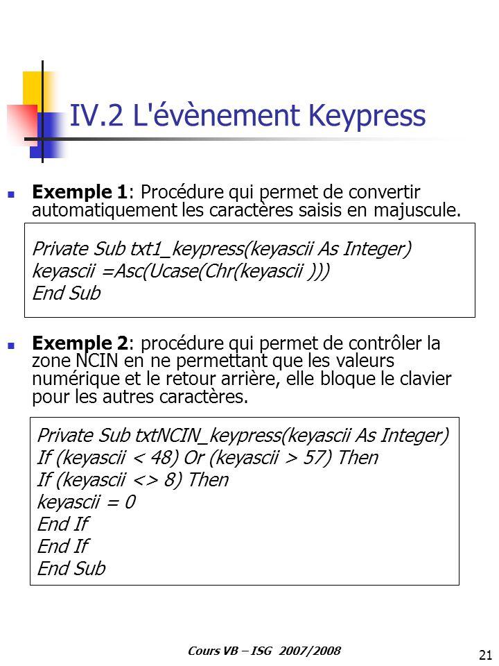 IV.2 L évènement Keypress