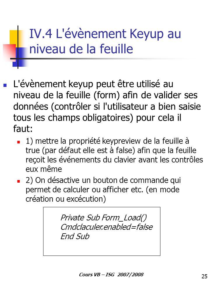 IV.4 L évènement Keyup au niveau de la feuille