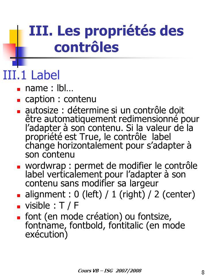III. Les propriétés des contrôles