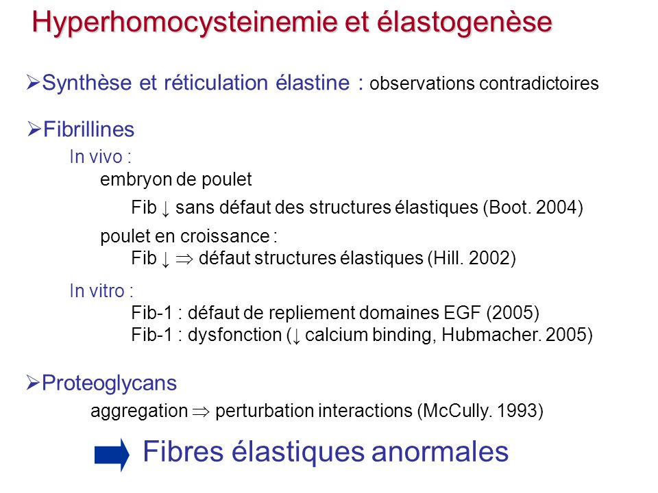 Hyperhomocysteinemie et élastogenèse