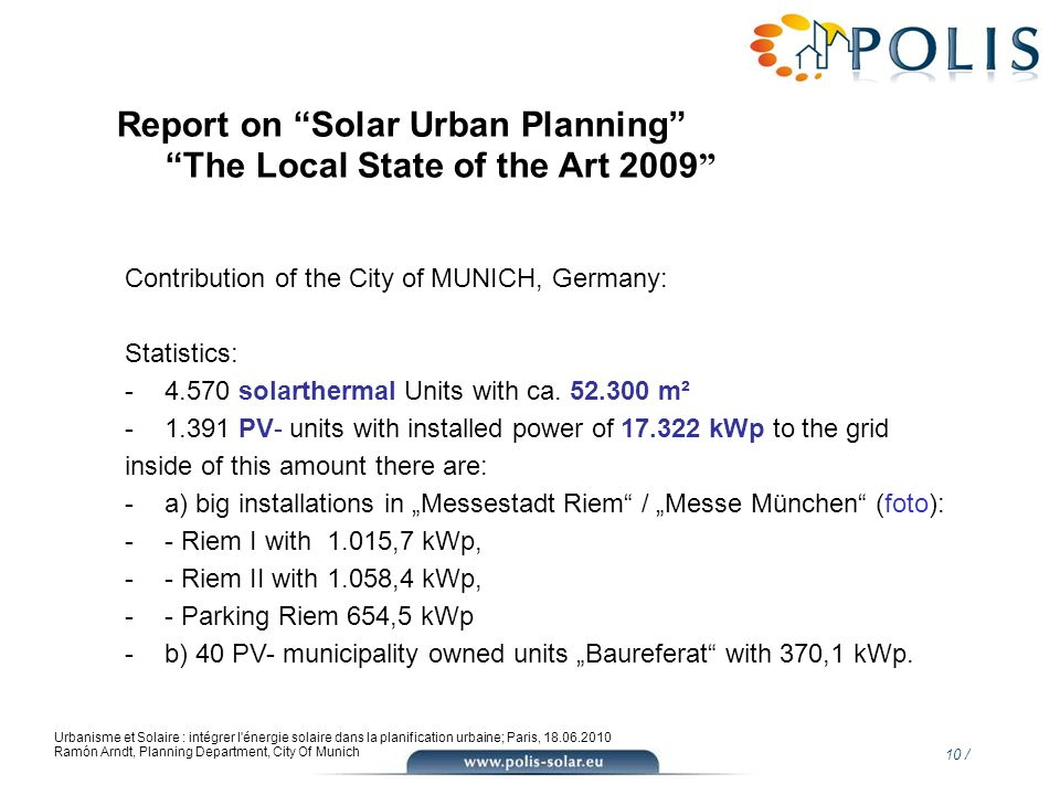 Report on Solar Urban Planning The Local State of the Art 2009