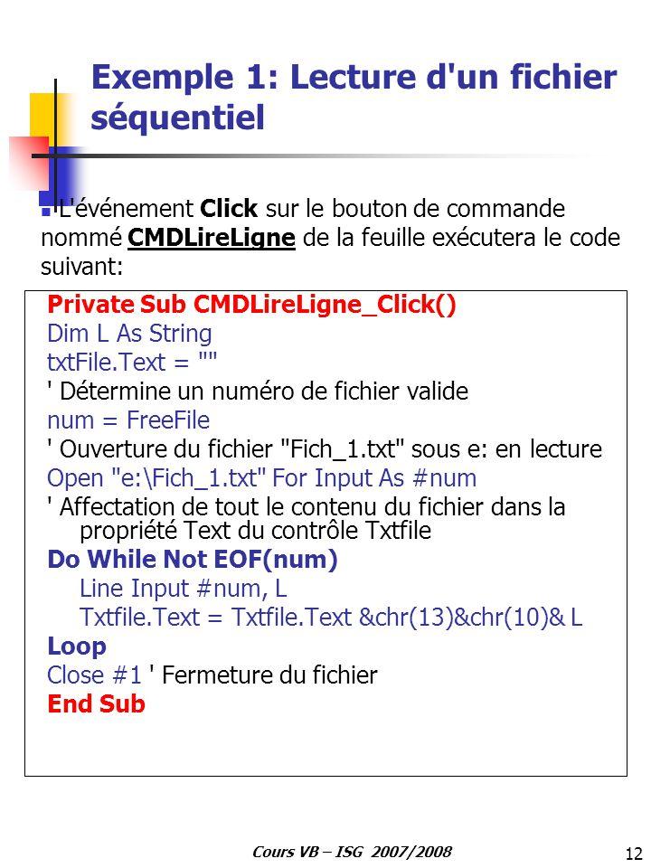 Exemple 1: Lecture d un fichier séquentiel