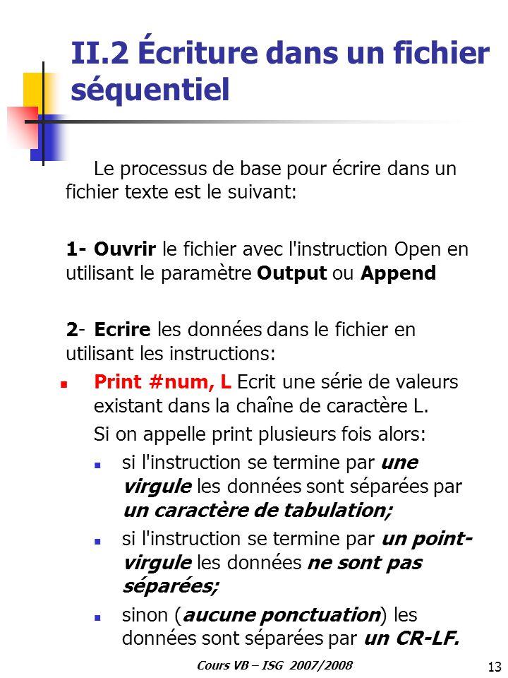 II.2 Écriture dans un fichier séquentiel