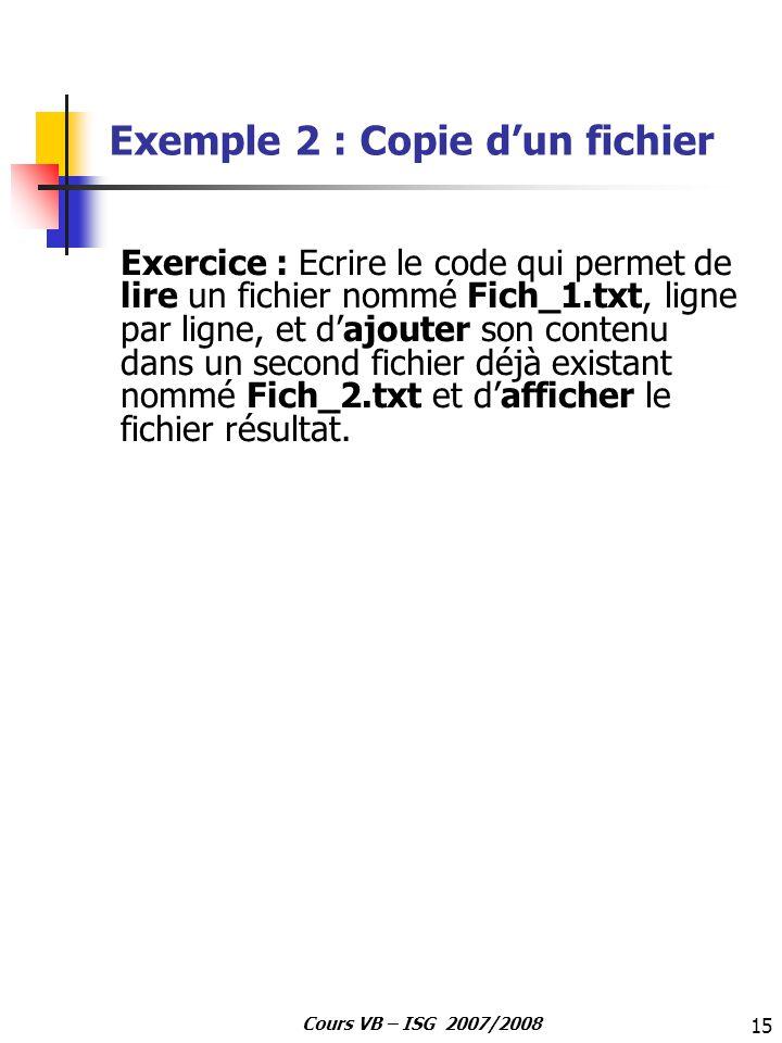 Exemple 2 : Copie d'un fichier