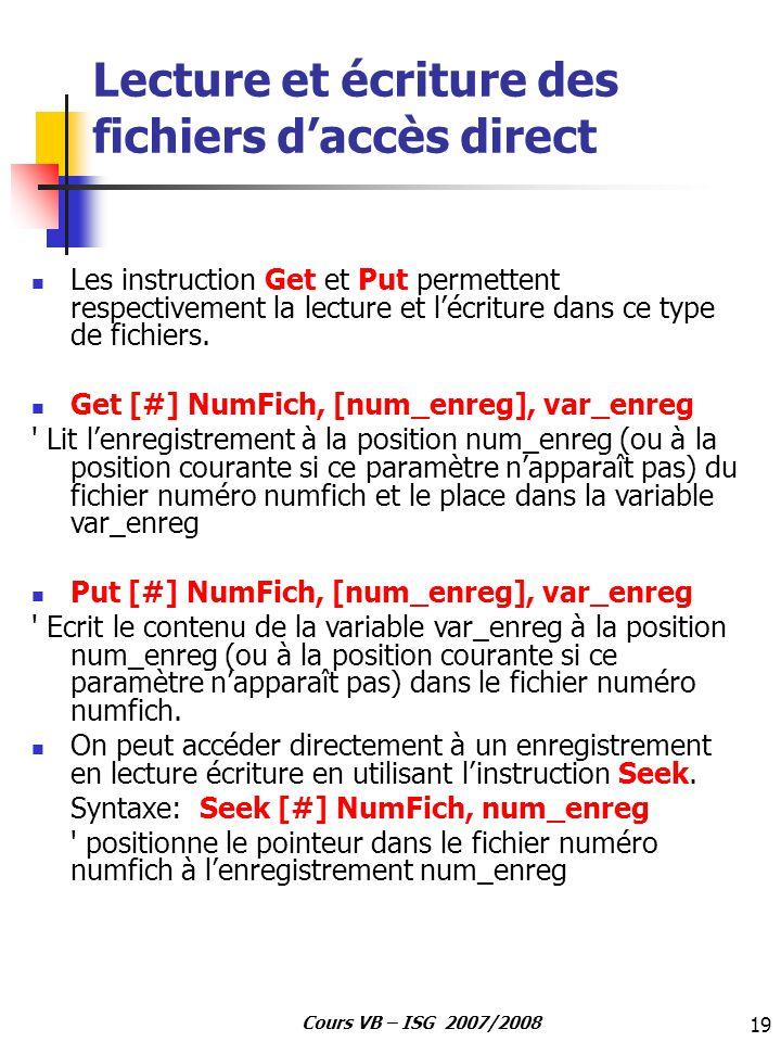 Lecture et écriture des fichiers d'accès direct