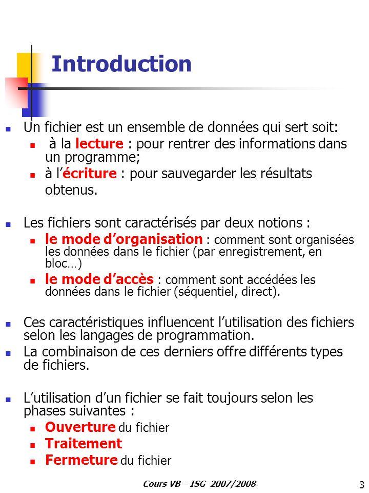 Introduction Un fichier est un ensemble de données qui sert soit: