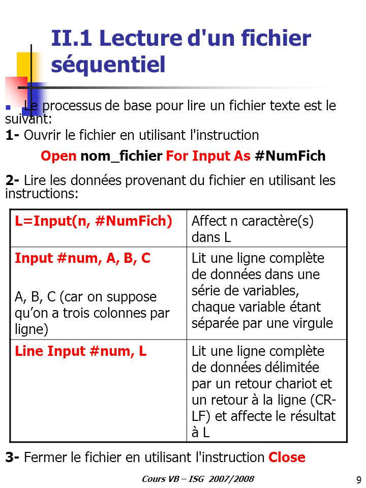 II.1 Lecture d un fichier séquentiel