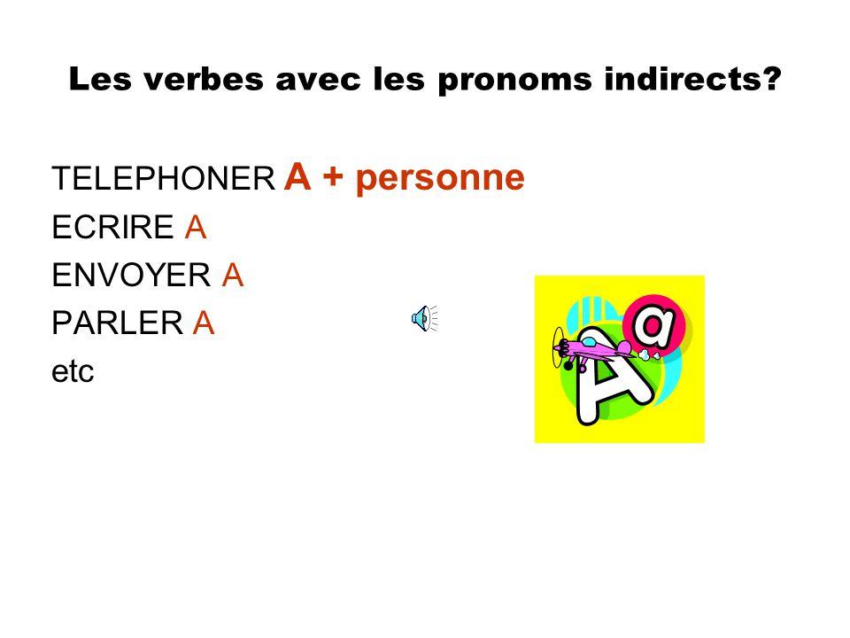 Les verbes avec les pronoms indirects