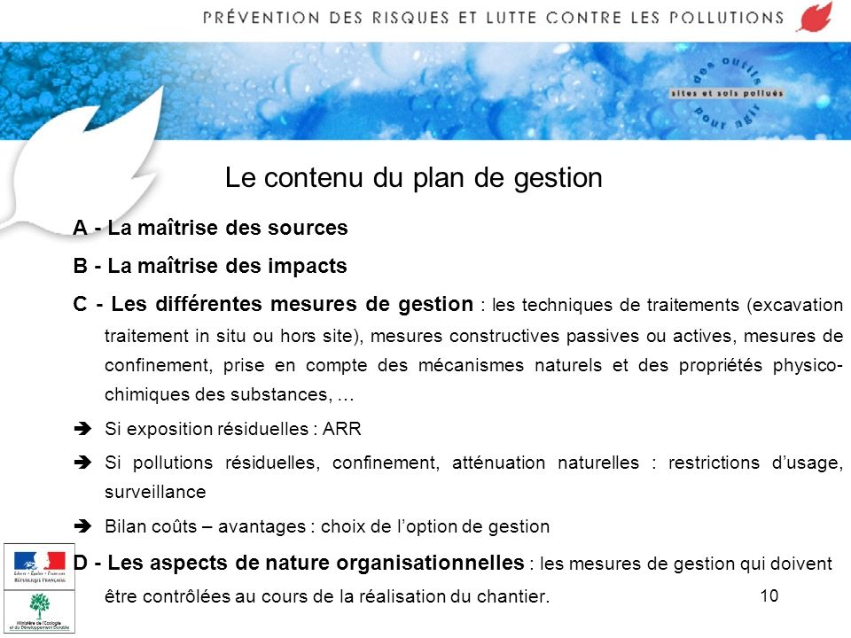 Le contenu du plan de gestion