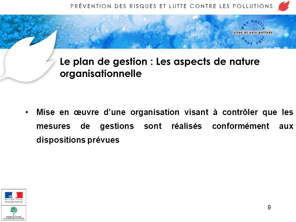Le plan de gestion : Les aspects de nature organisationnelle