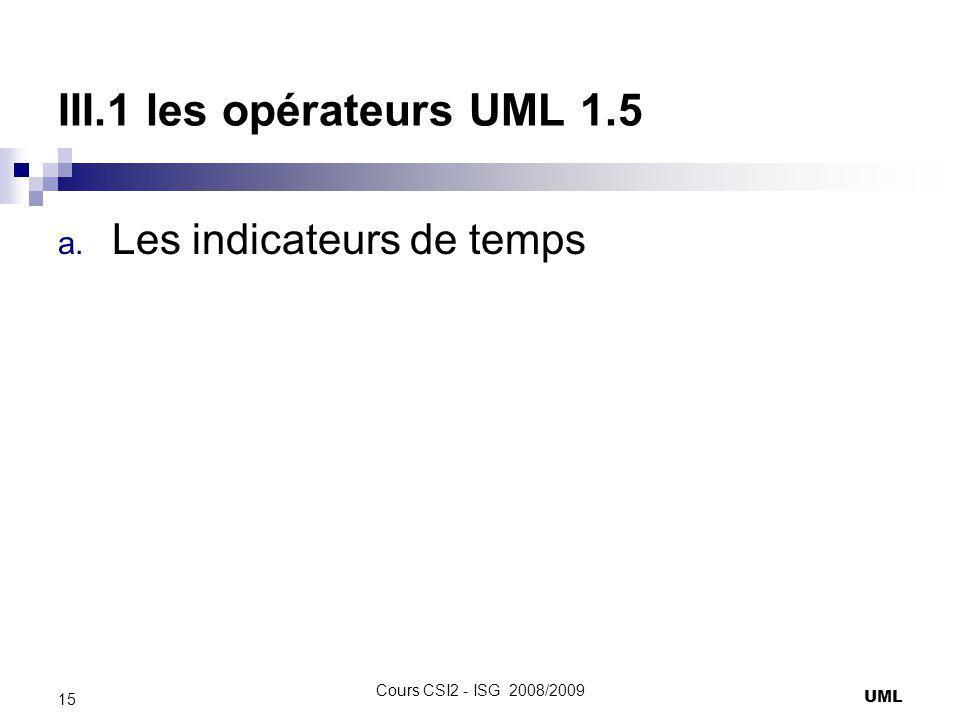 III.1 les opérateurs UML 1.5 Les indicateurs de temps