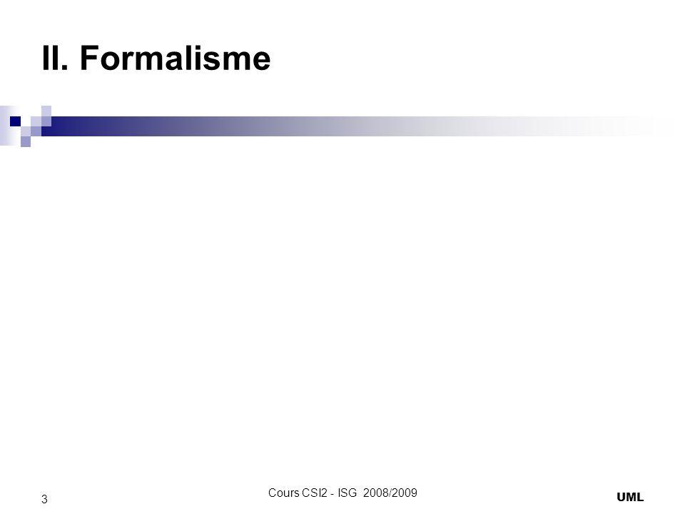 II. Formalisme Cours CSI2 - ISG 2008/2009 UML