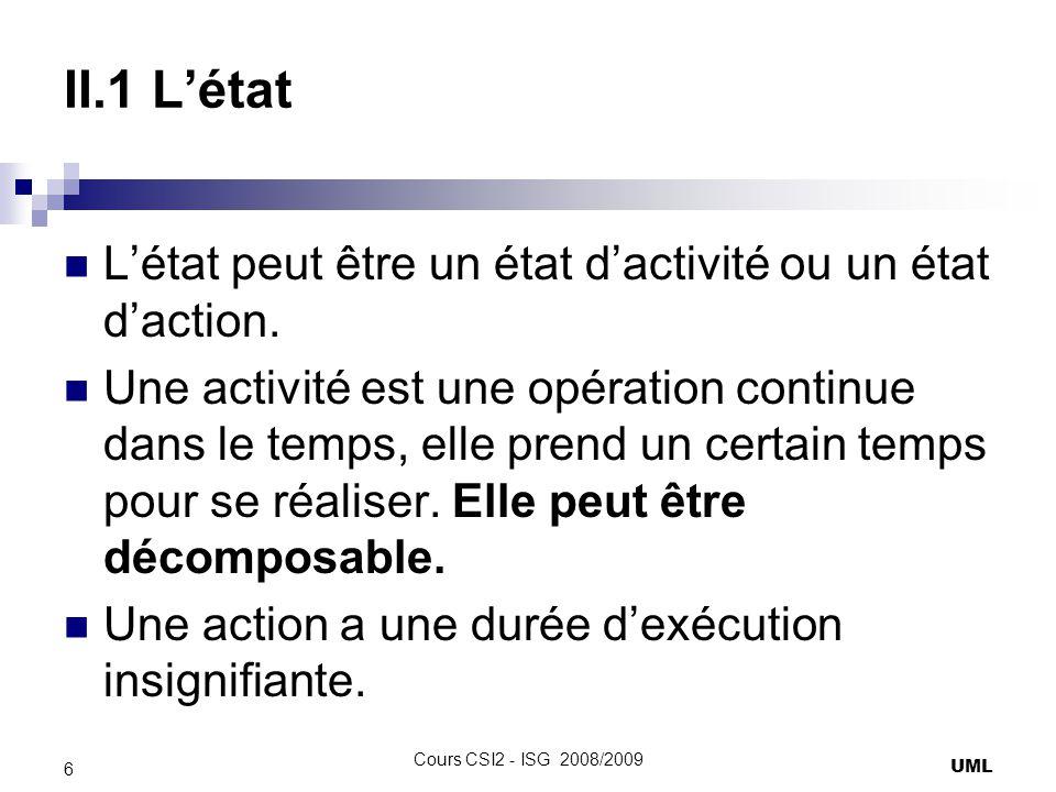 II.1 L'état L'état peut être un état d'activité ou un état d'action.