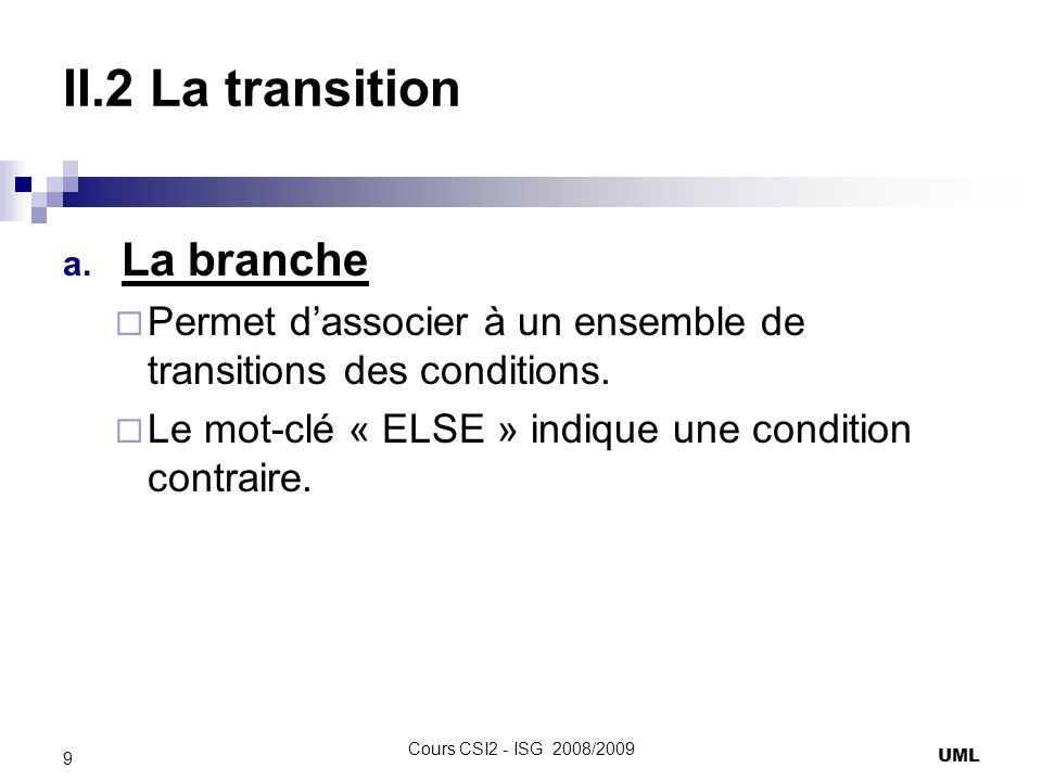 II.2 La transition La branche