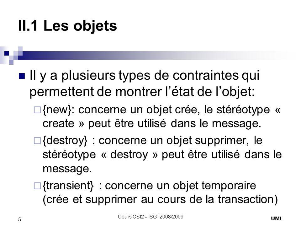 II.1 Les objets Il y a plusieurs types de contraintes qui permettent de montrer l'état de l'objet: