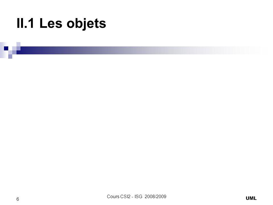 II.1 Les objets Cours CSI2 - ISG 2008/2009 UML