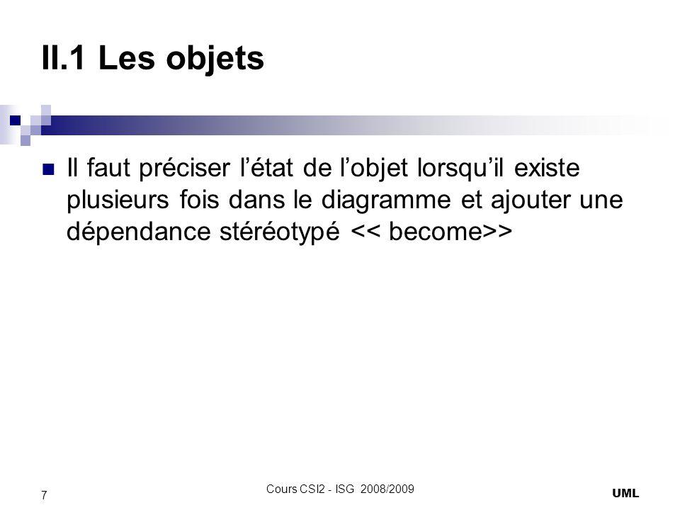 II.1 Les objets Il faut préciser l'état de l'objet lorsqu'il existe plusieurs fois dans le diagramme et ajouter une dépendance stéréotypé << become>>