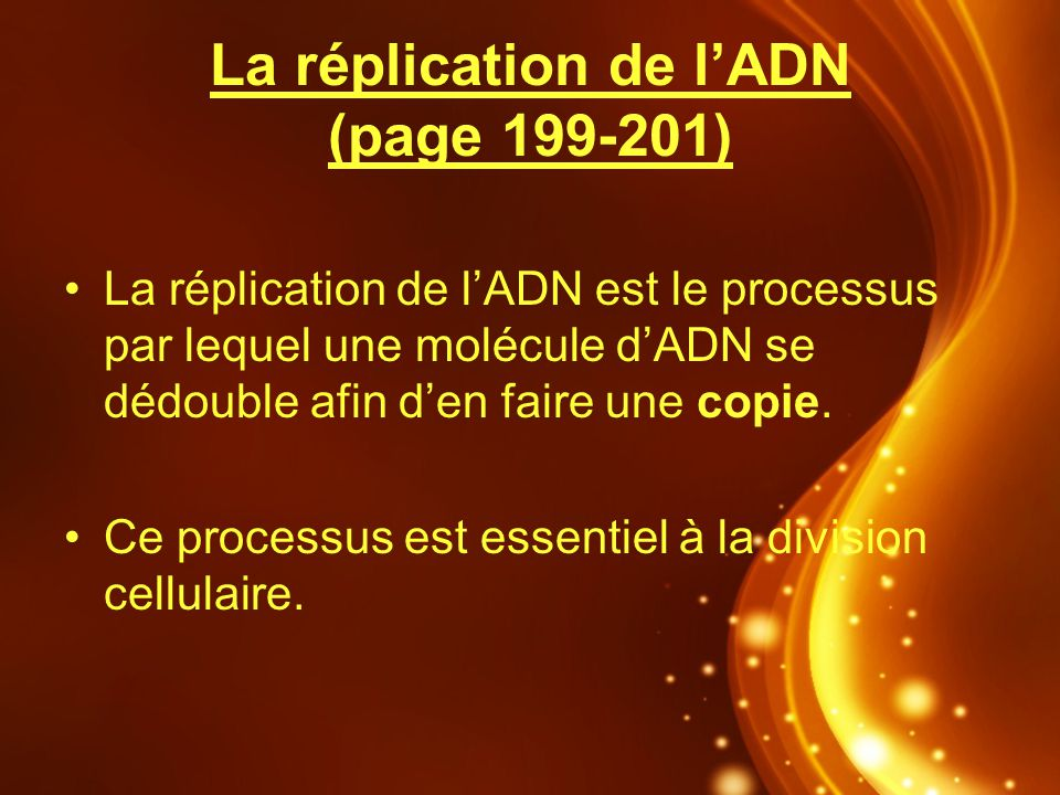 La réplication de l'ADN (page 199-201)