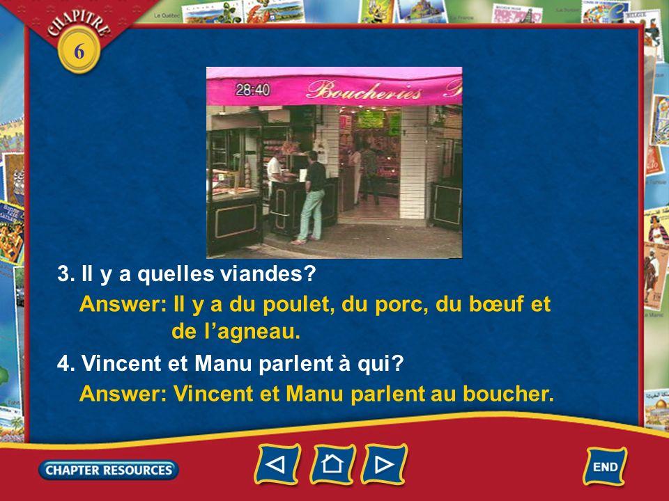 3. Il y a quelles viandes Answer: Il y a du poulet, du porc, du bœuf et. de l'agneau. 4. Vincent et Manu parlent à qui
