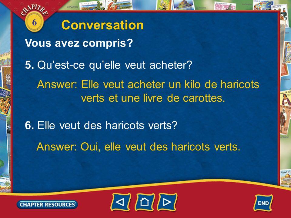 Conversation Vous avez compris 5. Qu'est-ce qu'elle veut acheter