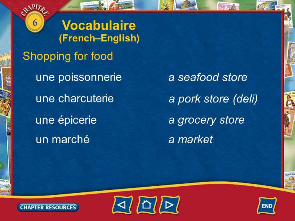 Vocabulaire Shopping for food une poissonnerie a seafood store
