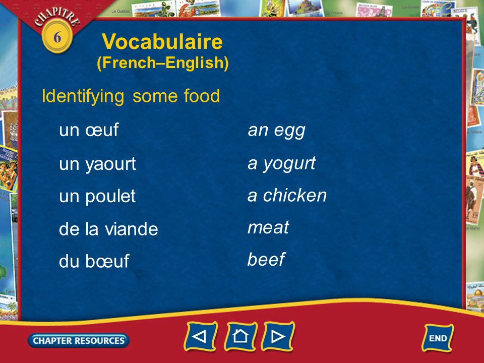 Vocabulaire Identifying some food un œuf an egg un yaourt a yogurt