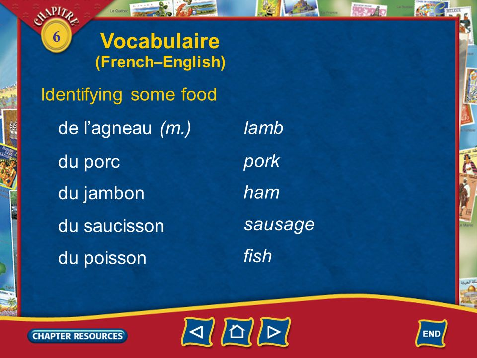 Vocabulaire Identifying some food de l'agneau (m.) lamb du porc pork