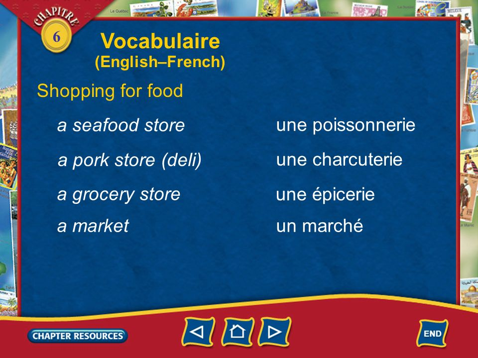 Vocabulaire Shopping for food a seafood store une poissonnerie