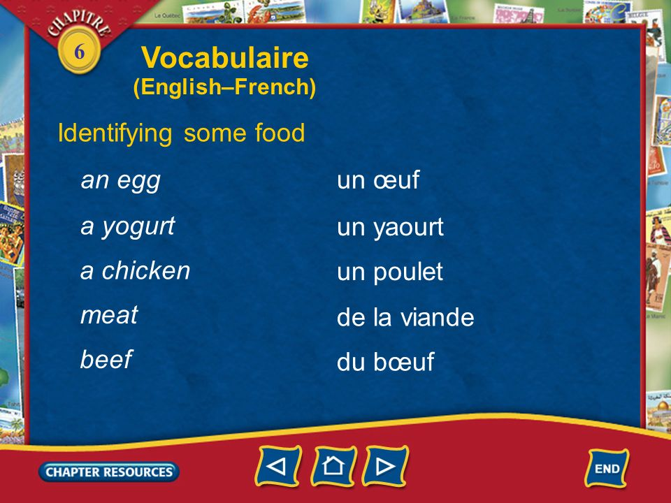 Vocabulaire Identifying some food an egg un œuf a yogurt un yaourt