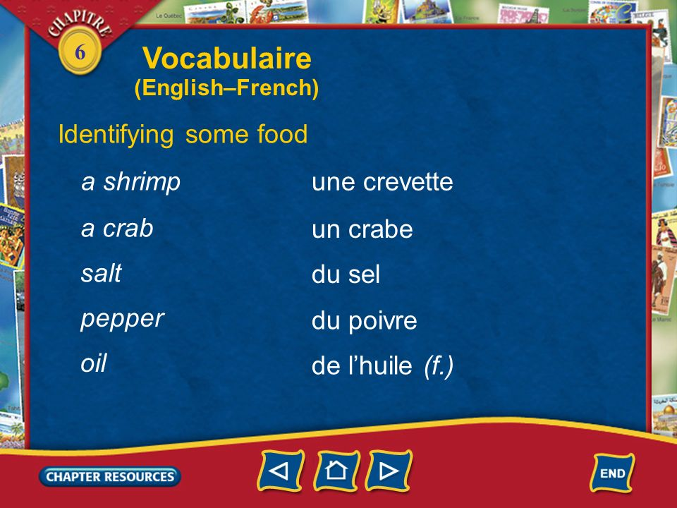 Vocabulaire Identifying some food a shrimp une crevette a crab
