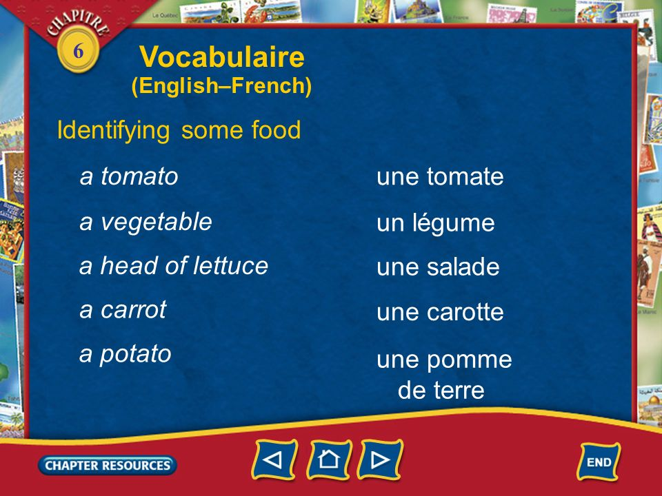 Vocabulaire Identifying some food a tomato une tomate a vegetable