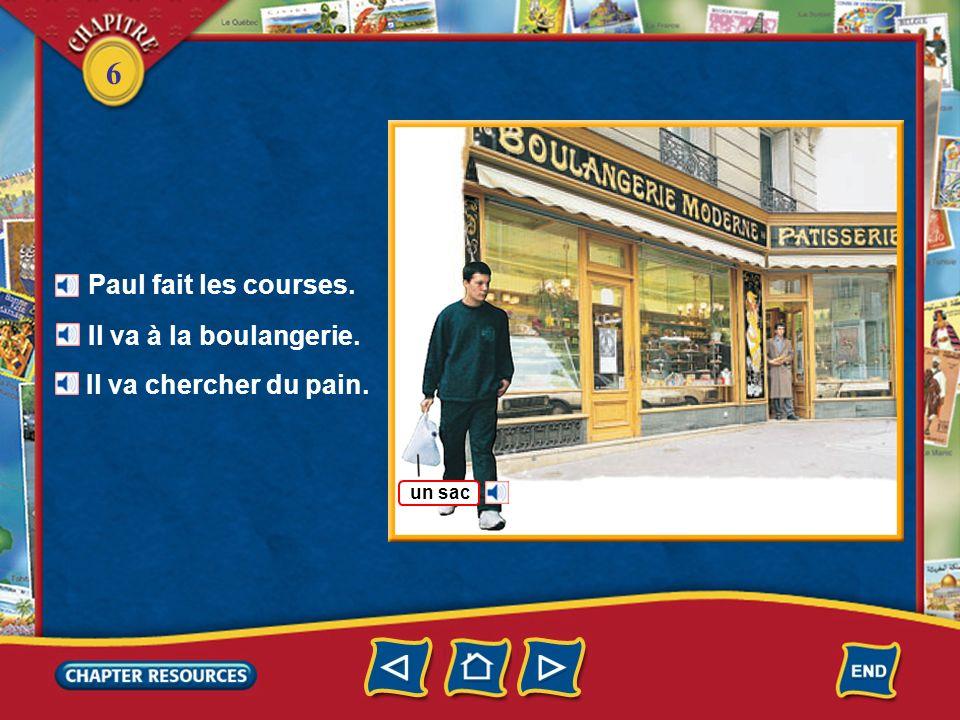 Paul fait les courses. Il va à la boulangerie. Il va chercher du pain.