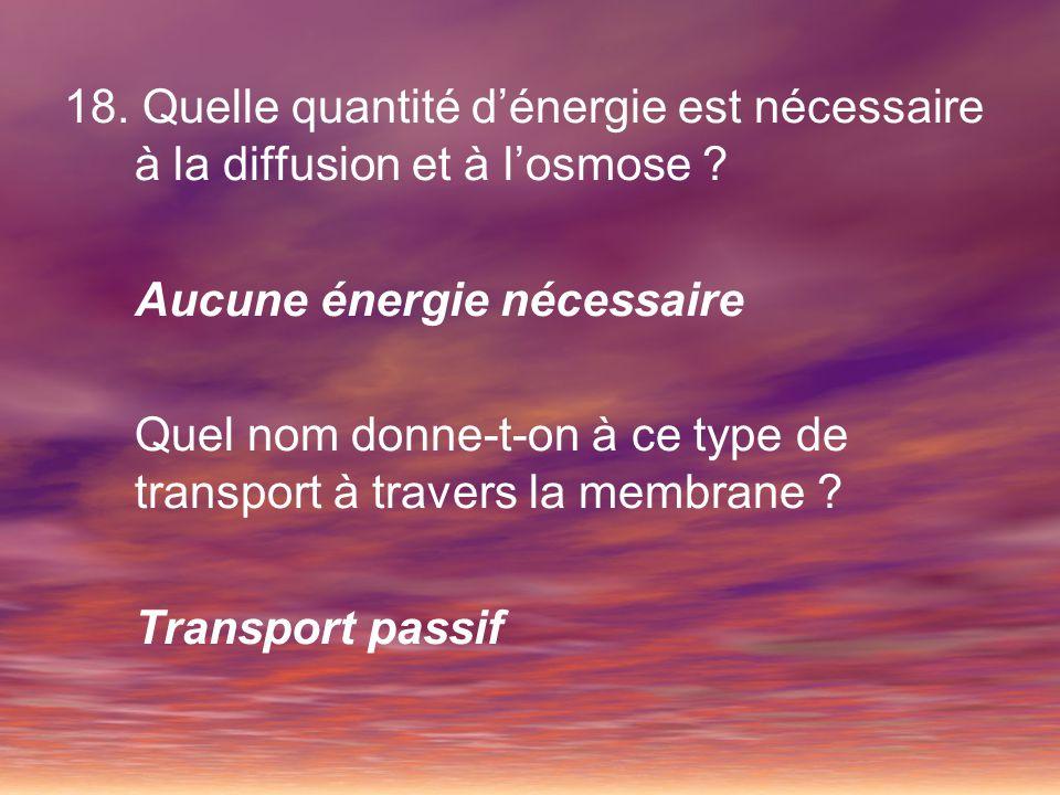 18. Quelle quantité d'énergie est nécessaire à la diffusion et à l'osmose