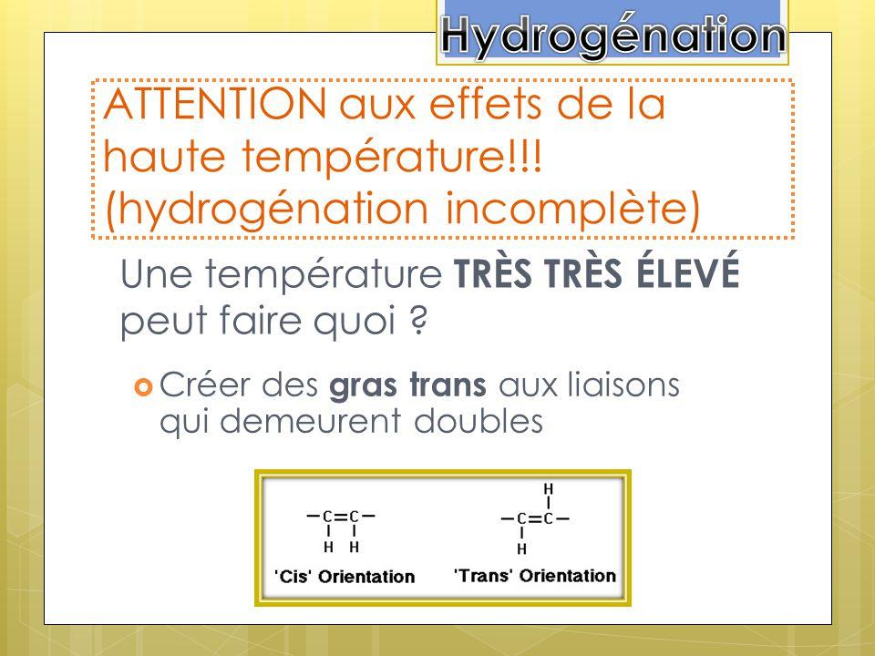 Hydrogénation ATTENTION aux effets de la haute température!!! (hydrogénation incomplète) Une température TRÈS TRÈS ÉLEVÉ peut faire quoi