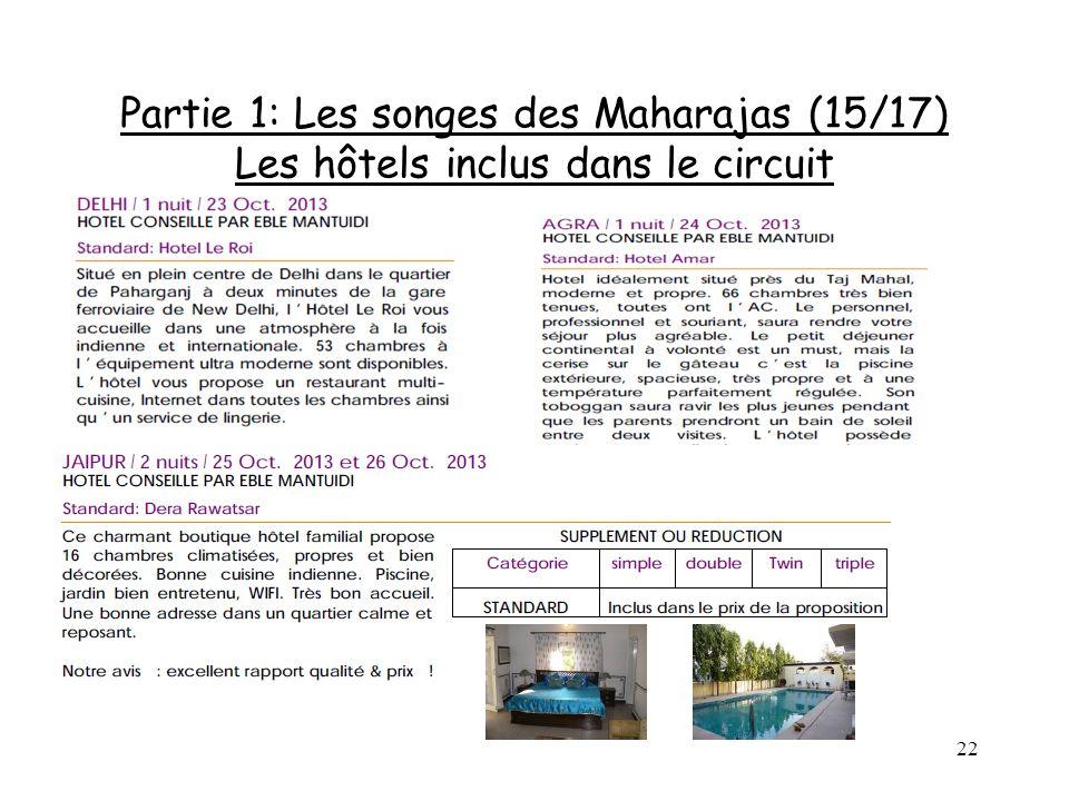 Partie 1: Les songes des Maharajas (15/17) Les hôtels inclus dans le circuit