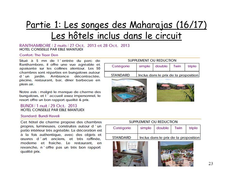 Partie 1: Les songes des Maharajas (16/17) Les hôtels inclus dans le circuit