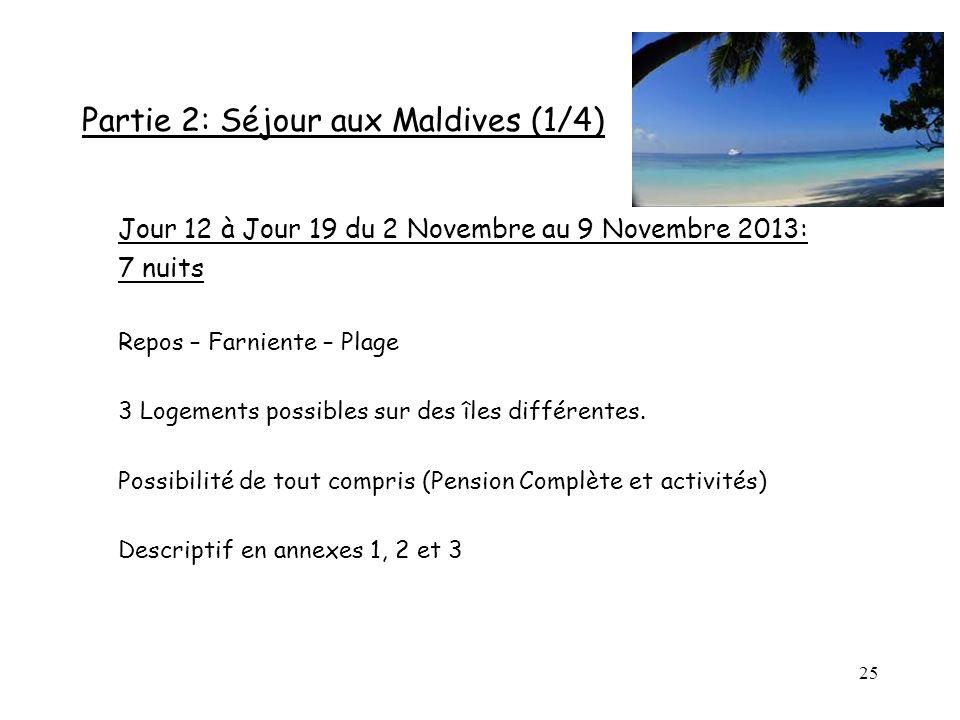 Partie 2: Séjour aux Maldives (1/4)