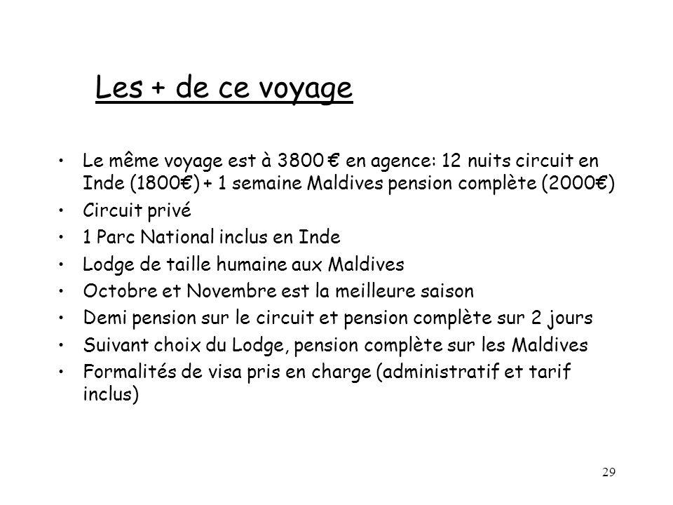Les + de ce voyage Le même voyage est à 3800 € en agence: 12 nuits circuit en Inde (1800€) + 1 semaine Maldives pension complète (2000€)
